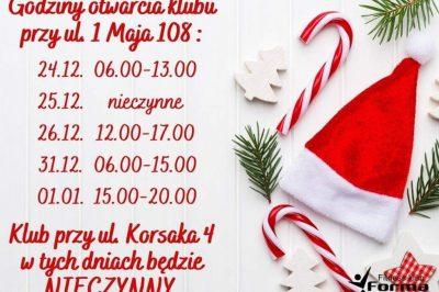 Świąteczno-Noworoczny rozkład jazdy Fitness Klub Forma :)