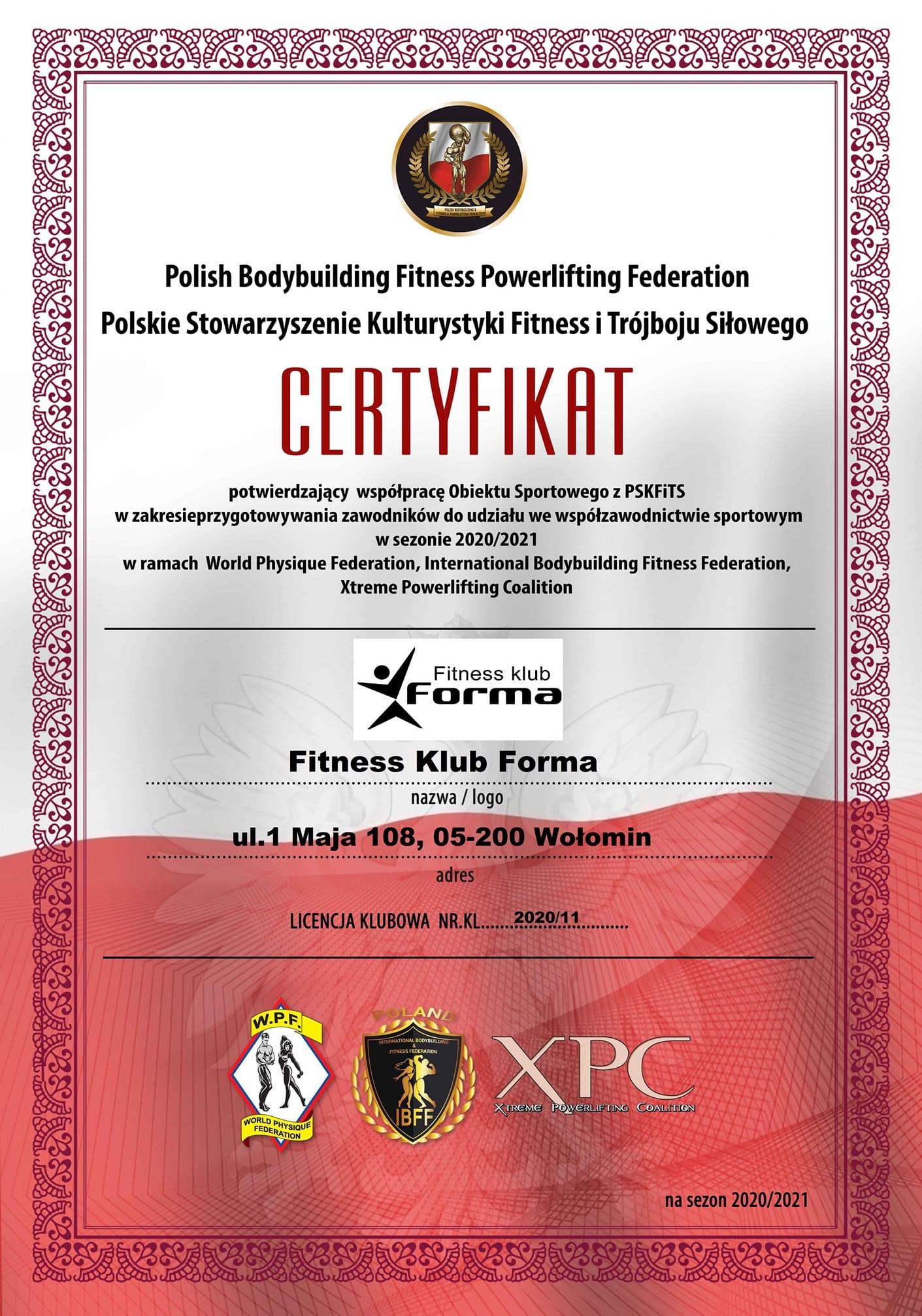 Przypominamy: Forma współpracuje z Polskim Stowarzyszeniem Kulturystyki Fitness i Trójboju Siłowego