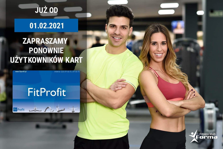 01.02.2021 Zapraszamy ponownie użytkowników kart FitProfit